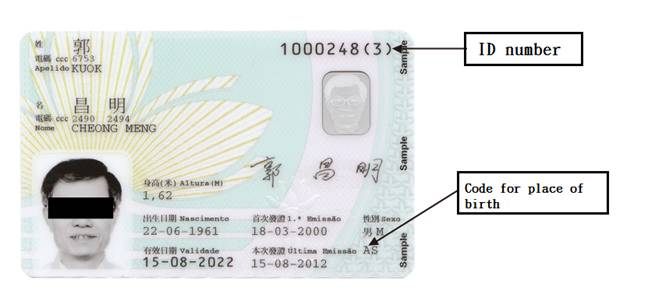 Macau sar identification department data at the back of the identity card are as follows yelopaper Image collections